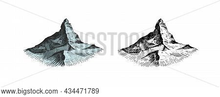 Mountains Peaks. Old Hill. Vintage, Looking Hand Drawn. Engraved Style. Sketch For Hiking, Climbing.