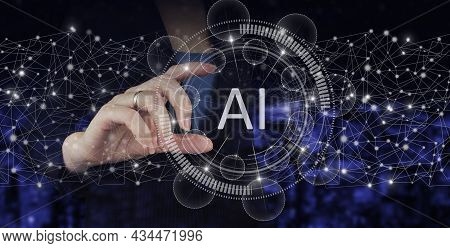 Neural Networks And Other Concepts Of Modern Technologies. Hand Hold Digital Hologram Artificial Int