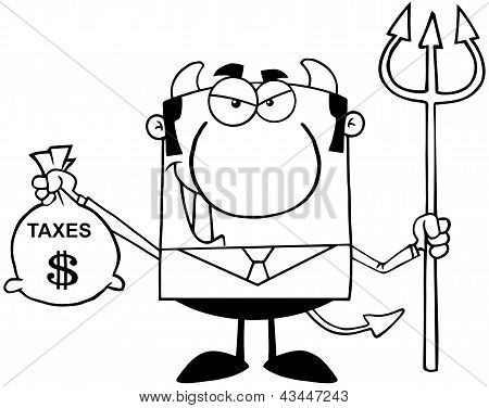Outlined Smiling Devil With A Trident And Holding Taxes Bag poster