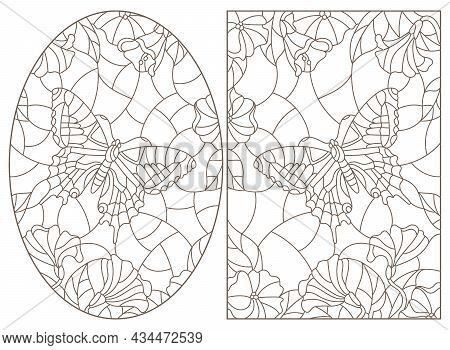 Set Of Contour Illustrations Of Stained-glass Windows With A Butterfly, Dark Contours On A White Bac