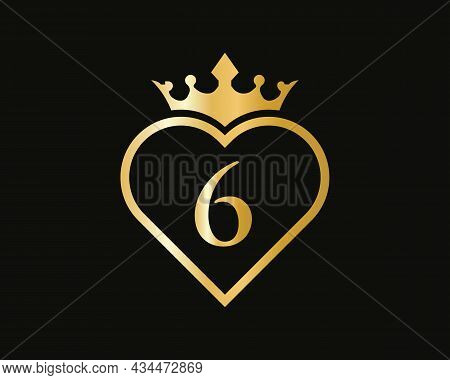 Letter 6 Logo With Love Shape. Heart Letter 6 Logo Design, Gold, Beauty, Fashion, Cosmetics Business