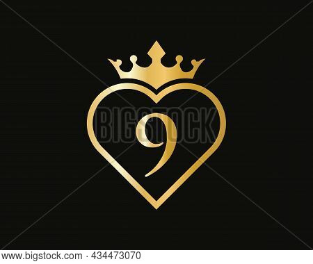 Creative Letter 9 Logo With Love Shape. Heart Letter 9 Logo Design, Gold, Beauty, Fashion, Cosmetics