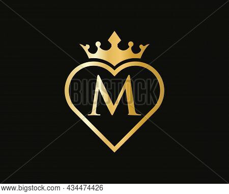 Initial M Logo With Crown And Love Shape. Heart Letter M Logo Design, Gold, Beauty, Fashion, Cosmeti