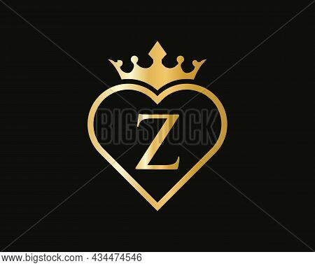 Z Logo With Crown And Love Shape. Heart Letter Z Logo Design, Gold, Beauty, Fashion, Cosmetics Busin