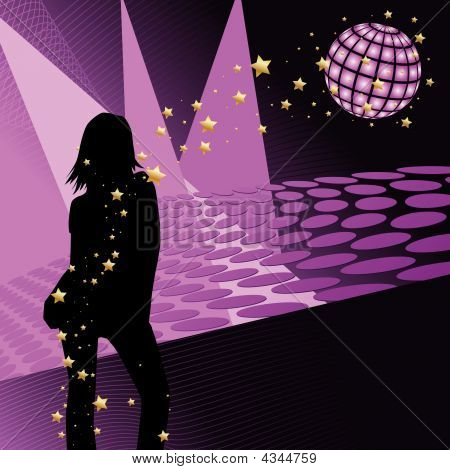 Vector - Silhouette girl dancing in disco party environment. Can be used as poster. poster