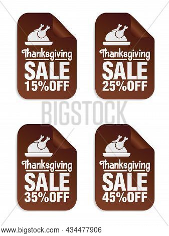 Thanksgiving Sale Brown Stickers Set 15%, 25%, 35%, 45% Off With Turkey On A Tray. Vector Illustrati