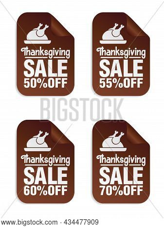 Thanksgiving Sale Brown Stickers Set 50%, 55%, 60%, 70% Off With Turkey On A Tray. Vector Illustrati