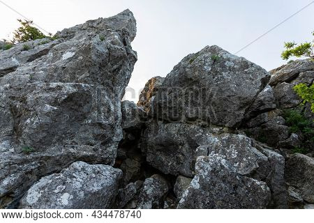 Cleft In The Rock, Cavity. Archeology, Geology, Research And Excavation Concept.