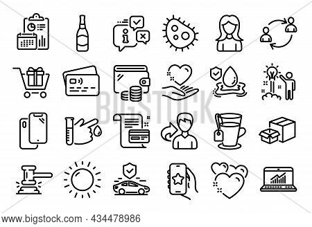 Vector Set Of Share, Sunny Weather And Flood Insurance Line Icons Set. Calendar Report, Money Wallet