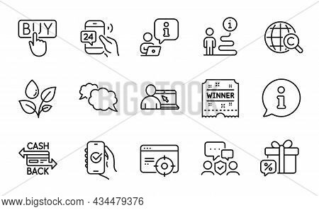 Business Icons Set. Included Icon As Seo Targeting, 24h Service, Winner Ticket Signs. Approved App,
