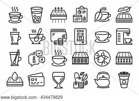 Vector Set Of Flexible Mattress, Cappuccino And Mattress Line Icons Set. Calendar Report, Money Wall
