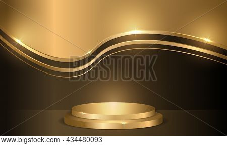 Golden Circle Podium On Dark Luxury Background. Three-dimensional Pedestal, Round Scene, Display For