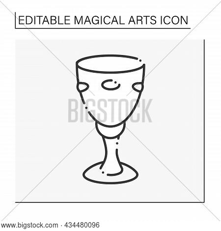 Chalice Line Icon. Wine Cup. Cup For Making Sacrifices. Magical Arts Concept. Isolated Vector Illust