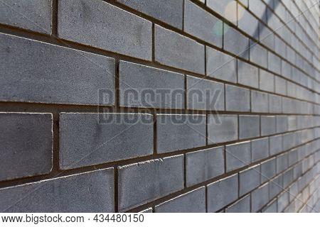 Background Of Brick Wall. Gray Brick Close-up