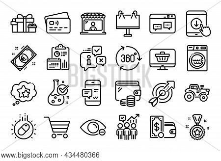 Vector Set Of Wallet Money, Market Seller And Business Statistics Line Icons Set. Calendar Report, M