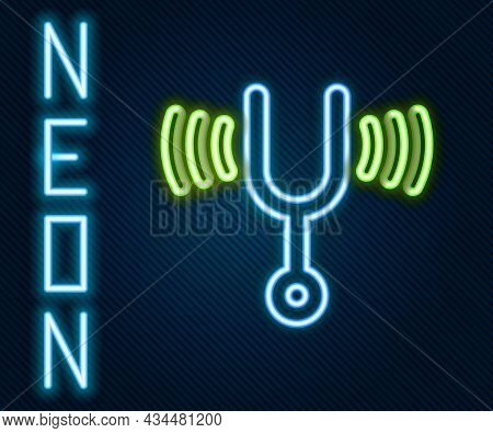 Glowing Neon Line Musical Tuning Fork For Tuning Musical Instruments Icon Isolated On Black Backgrou