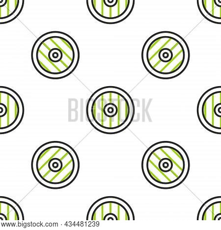 Line Greek Shield With Greek Ornament Icon Isolated Seamless Pattern On White Background. Vector