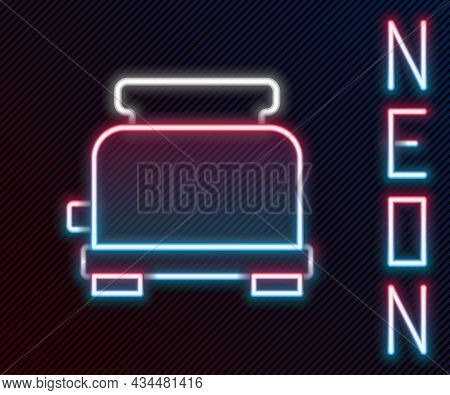 Glowing Neon Line Toaster Icon Isolated On Black Background. Colorful Outline Concept. Vector