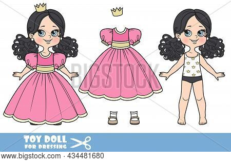 Cartoon Girl With Black Ponytails Hairstyle Dressed And Clothes Separately - Pink Ball Dress, Crown