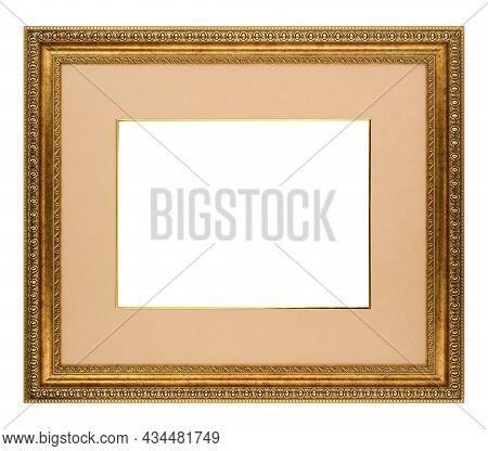 Gold Mockup Canvas Frame Isolated On White Background