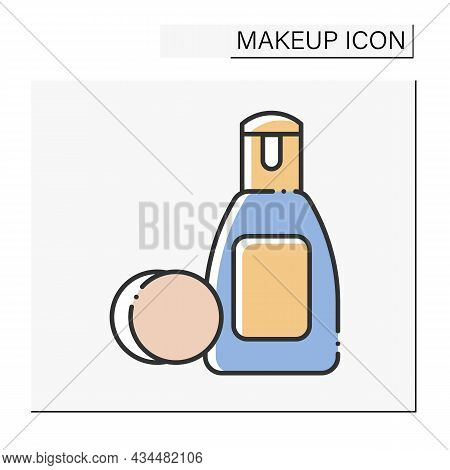 Eye Makeup Remover Color Icon. Delicate Liquid For Clean Eye From Cosmetic.beauty Procedure. Makeup