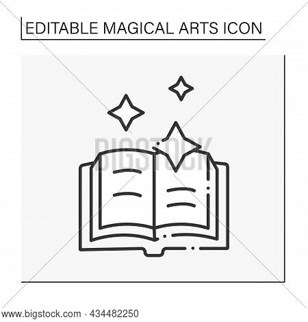 Spells Book Line Icon. Ancient Book With Spellings For Witchcrafting. Magical Arts Concept. Isolated