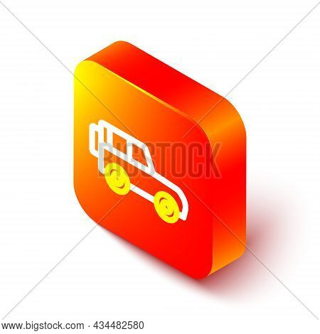 Isometric Line Off Road Car Icon Isolated On White Background. Orange Square Button. Vector