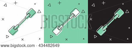 Set Paddle Icon Isolated On White And Green, Black Background. Paddle Boat Oars. Vector Illustration
