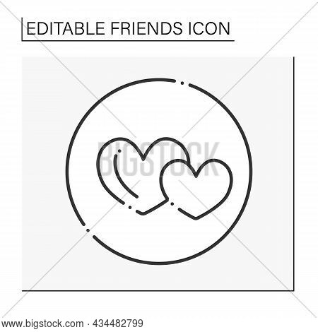Mutual Benefit Line Icon. People Are Physically Intimate With One Another. Soulmates. Hearts. Friend