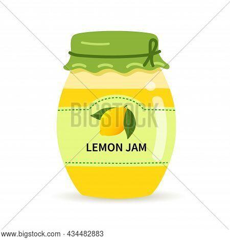 Glass Jar With Homemade Lemon Jam. Label With Lemon On A Jar Of Confiture.