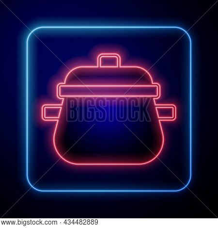 Glowing Neon Cooking Pot Icon Isolated On Black Background. Boil Or Stew Food Symbol. Vector