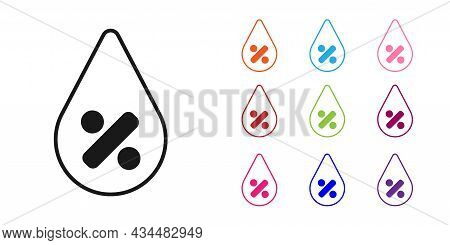 Black Water Drop Percentage Icon Isolated On White Background. Humidity Analysis. Set Icons Colorful