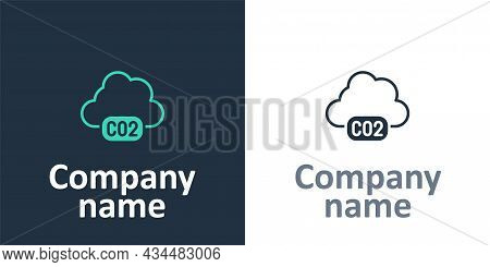 Logotype Co2 Emissions In Cloud Icon Isolated On White Background. Carbon Dioxide Formula, Smog Poll