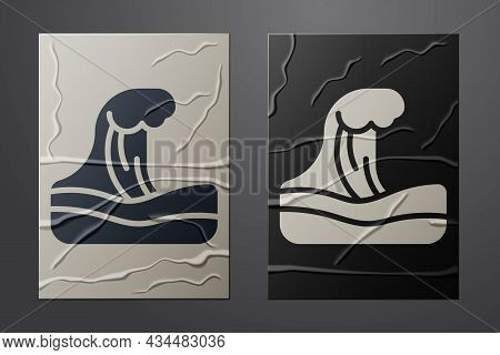 White Tsunami Icon Isolated On Crumpled Paper Background. Flood Disaster. Stormy Weather By Seaside,
