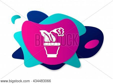 Color Flower In Pot Icon Isolated On White Background. Plant Growing In A Pot. Potted Plant Sign. Ab