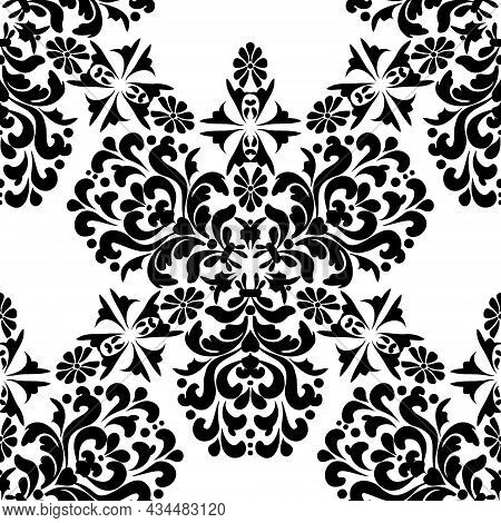 Vintage Seamless Pattern With Floral Ornaments. Black And White.