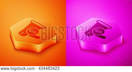 Isometric Megaphone And Dollar Icon Isolated On Orange And Pink Background. Loud Speech Alert Concep