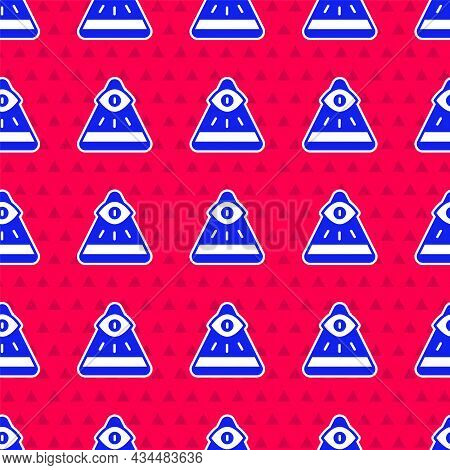 Blue Masons Symbol All-seeing Eye Of God Icon Isolated Seamless Pattern On Red Background. The Eye O
