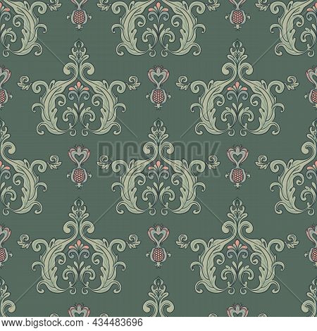 Floral Vintage Seamless Pattern For Retro Wallpapers. Enchanted Vintage Flowers. Arts And Crafts Mov