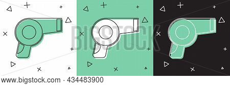 Set Hair Dryer Icon Isolated On White And Green, Black Background. Hairdryer Sign. Hair Drying Symbo