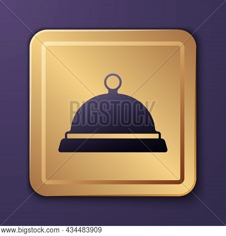 Purple Covered With A Tray Of Food Icon Isolated On Purple Background. Tray And Lid Sign. Restaurant