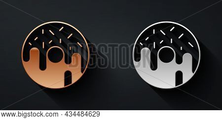 Gold And Silver Donut With Sweet Glaze Icon Isolated On Black Background. Long Shadow Style. Vector