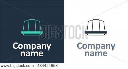 Logotype Jelly Cake Icon Isolated On White Background. Jelly Pudding. Logo Design Template Element.