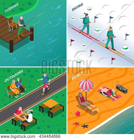 Elderly People Spending Time Outdoors In Different Places 2x2 Icons Set Isometric Isolated Vector Il