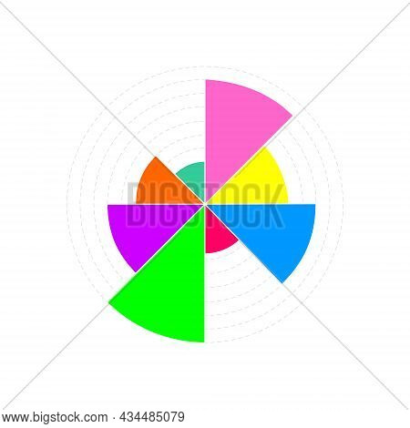 Circle Chart Example. Wheel Diagram With 8 Colorful Segments Of Different Volumes. Financial Data Vi