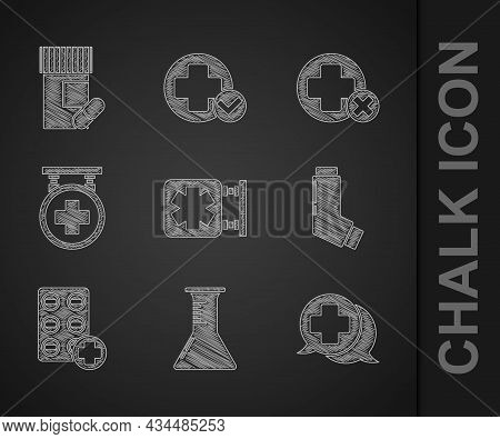 Set Medical Symbol Of The Emergency, Test Tube And Flask, Dialogue With Doctor, Inhaler, Pills In Bl