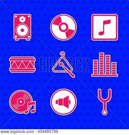 Set Triangle Musical Instrument, Speaker Volume, Musical Tuning Fork, Equalizer, Vinyl Disk, Drum, N