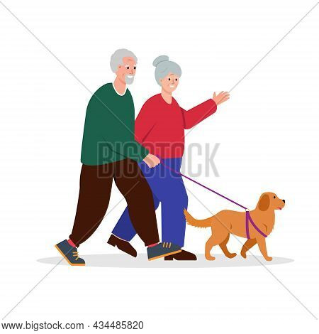 Elderly Couple Walking With Dog. Senior Man And Woman Or Family Leisure. Active And Healthy Lifestyl