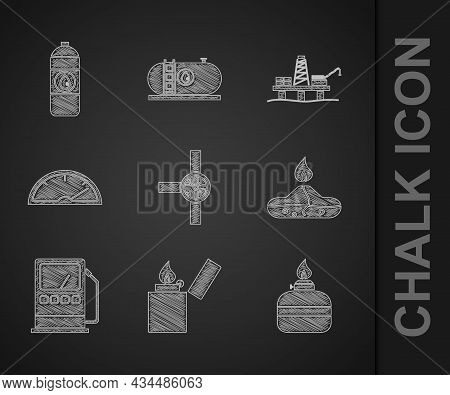 Set Industry Pipes And Valve, Lighter, Alcohol Or Spirit Burner, Petrol Gas Station, Speedometer, Oi