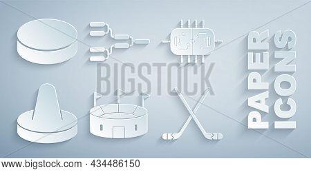 Set Hockey Stadium, Table, Mallet For Playing Air Hockey, Ice Sticks, Championship Tournament Bracke